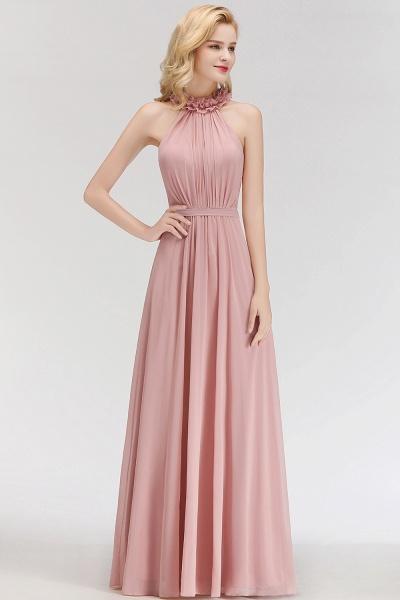A-line Halter Sleeveless Ruffled Chiffon Bridesmaid Dresses_3