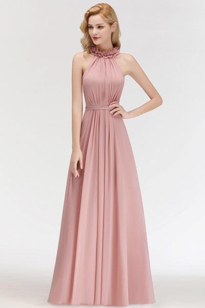 A-line Halter Sleeveless Ruffled Chiffon Bridesmaid Dresses_4