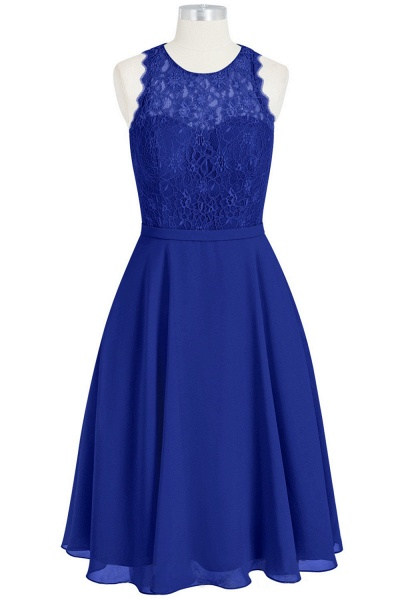 Illusion Lace Chiffon Short A-line Bridesmaid Dress