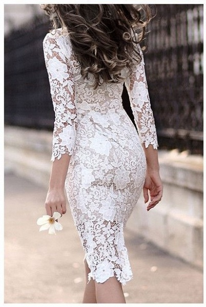 Simple Short Sheath Lace Prom Dresses with sleeves_3