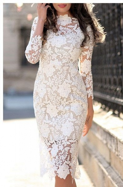 Simple Short Sheath Lace Prom Dresses with sleeves