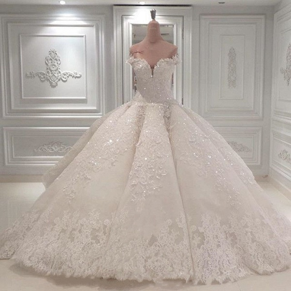 BC0388 Gorgeous Off The Shoulder Beadings Ball Gown Wedding Dress_2