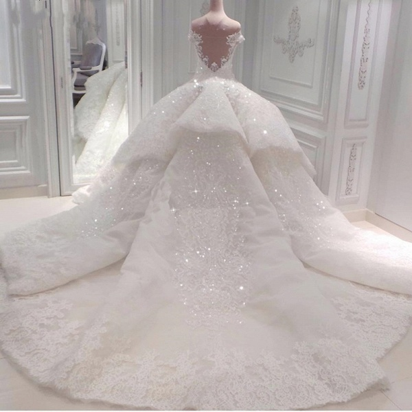 BC0388 Gorgeous Off The Shoulder Beadings Ball Gown Wedding Dress_3