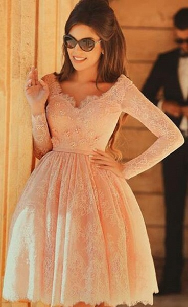 Elegant Short A-line V-neck Lace Prom Dress with Sleeves_3