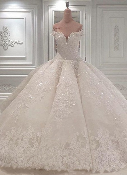 BC0388 Gorgeous Off The Shoulder Beadings Ball Gown Wedding Dress_1
