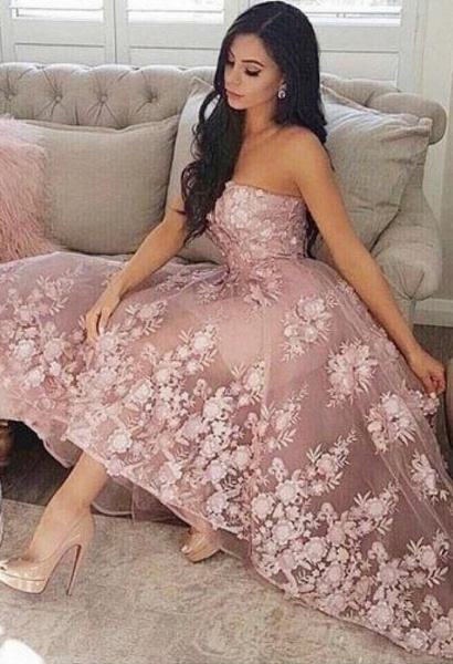 Fashion A-line Lace Strapless High Low Prom Dresses
