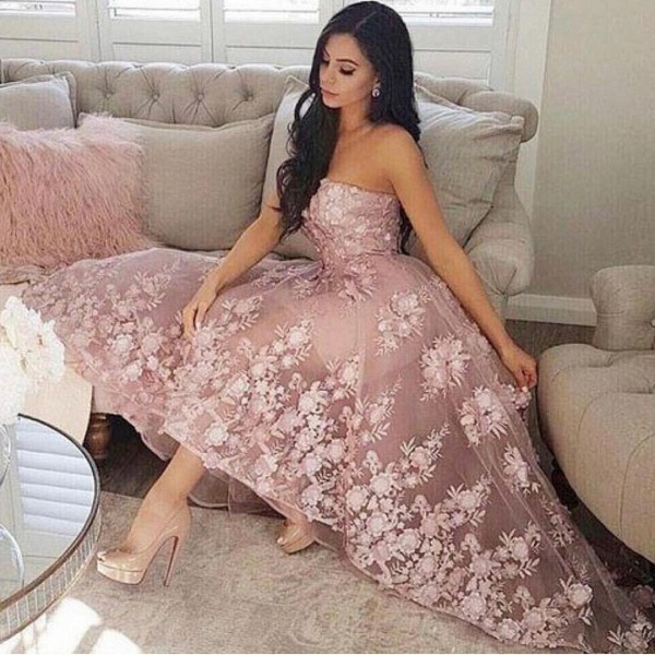 Fashion A-line Lace Strapless High Low Prom Dresses_2
