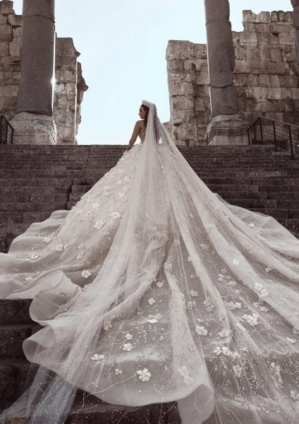 Beading Floral Sheer Neck Long Sleeves Ball Gown Wedding Dresses_5