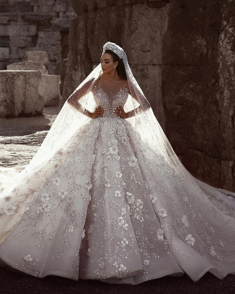 Beading Floral Sheer Neck Long Sleeves Ball Gown Wedding Dresses_2
