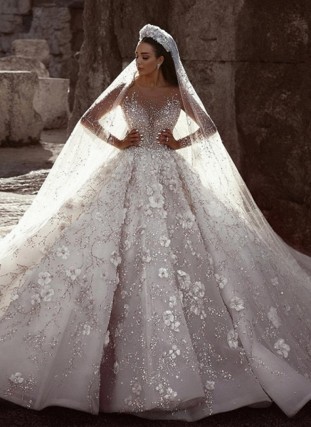 Beading Floral Sheer Neck Long Sleeves Ball Gown Wedding Dresses