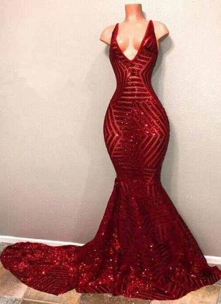 BA7779 Red Sequins V-Neck Mermaid Long Burgundy Prom Dresses