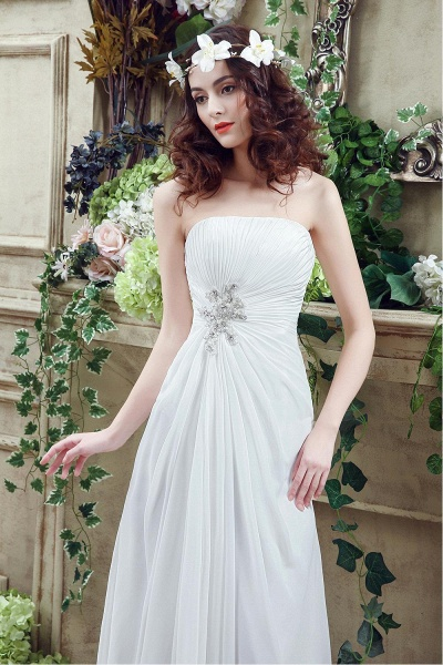 A-line Strapless Beadings Pleated Wedding Dress_6