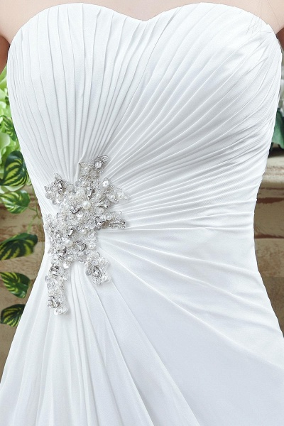 A-line Strapless Beadings Pleated Wedding Dress_3