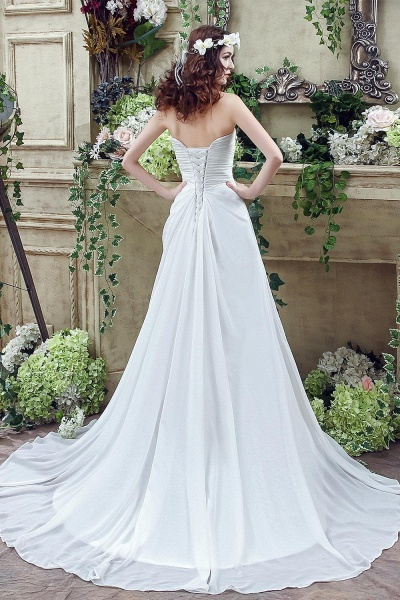 A-line Strapless Beadings Pleated Wedding Dress_5