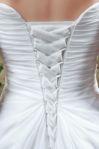 A-line Strapless Beadings Pleated Wedding Dress_4