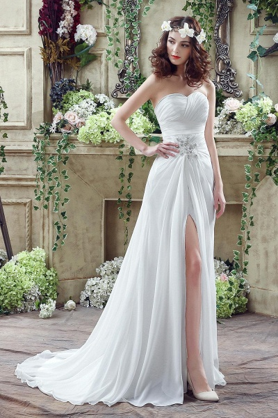 Chiffon Sweetheart Side Split Wedding Dress_1