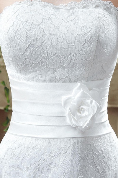 Sweetheart Lace Wedding Dress Ankle Length Empire Bridal Gown_5