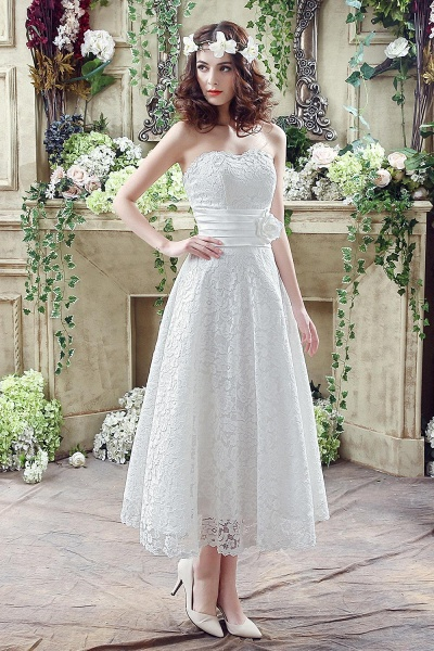 Sweetheart Lace Wedding Dress Ankle Length Empire Bridal Gown_1