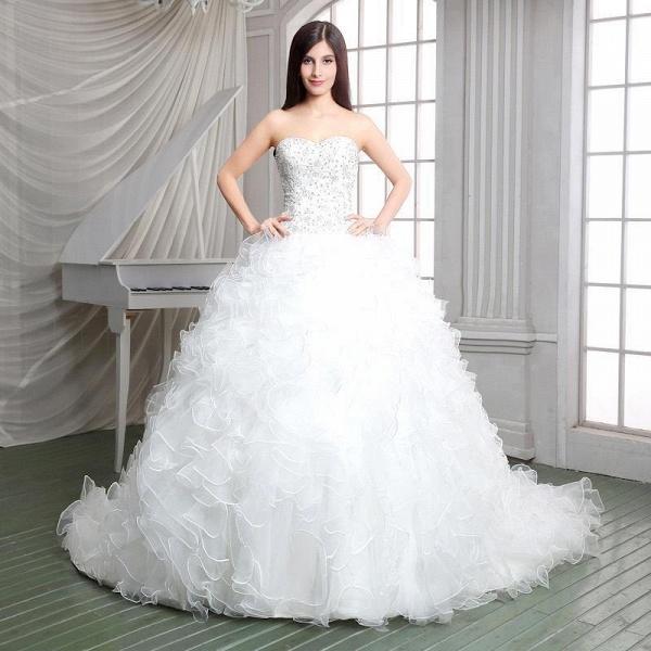 Strapless Ruffles Beadings Sweetheart Sleeveless Wedding Dress_3