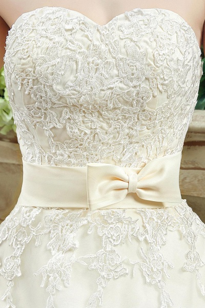 Sweetheart Strapless Lace Appliques Wedding Dress With Bowknot_5