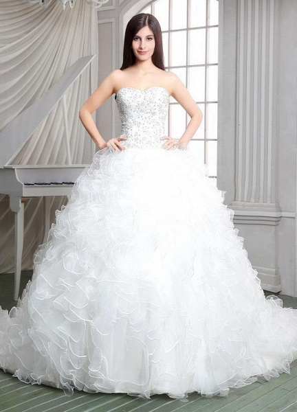 Strapless Ruffles Beadings Sweetheart Sleeveless Wedding Dress_1