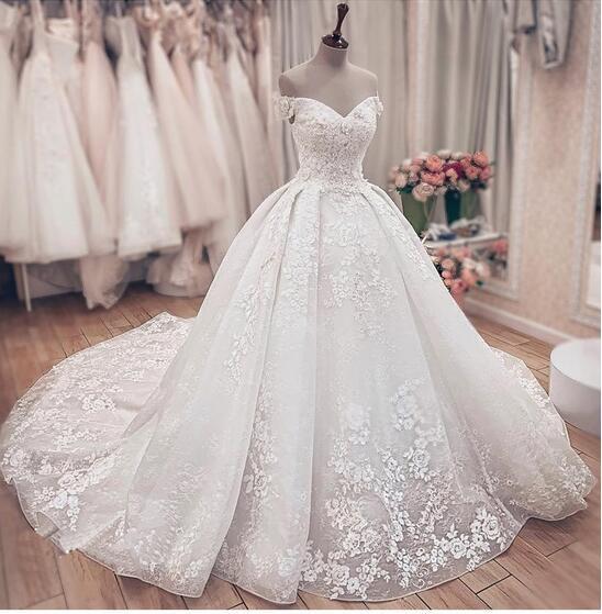 SDBC2511 Luxury Off Shoulder A-Line Lace Wedding Dresses_3