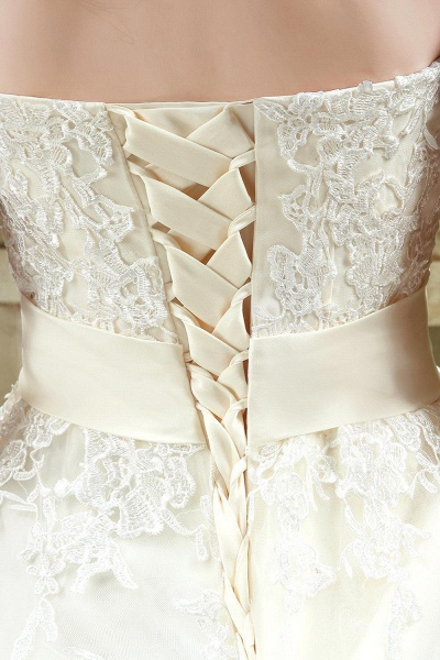 Sweetheart Strapless Lace Appliques Wedding Dress With Bowknot_6