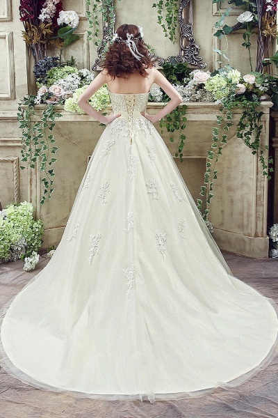 Sweetheart Strapless Lace Appliques Wedding Dress With Bowknot_7