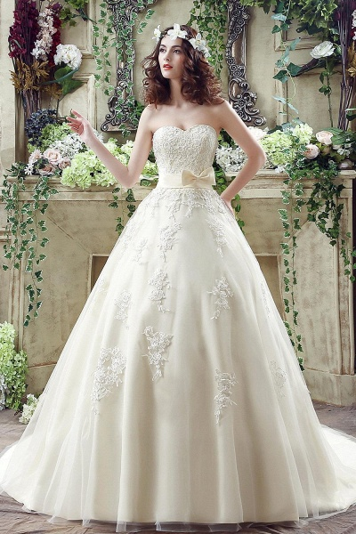 Sweetheart Strapless Lace Appliques Wedding Dress With Bowknot_1