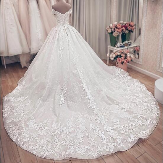 SDBC2511 Luxury Off Shoulder A-Line Lace Wedding Dresses_4