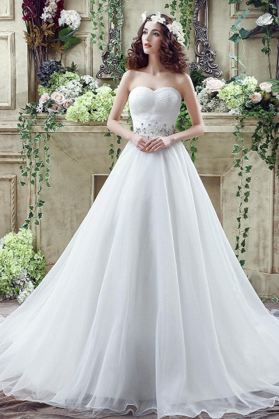 A-line Sweetheart Beading Belt Lace Up Wedding Dress_1