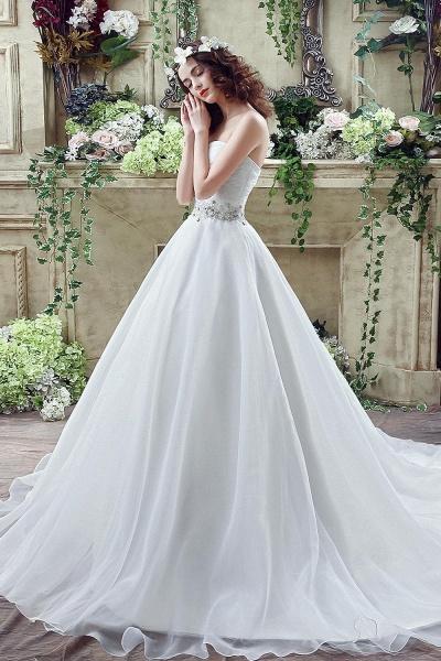 A-line Sweetheart Beading Belt Lace Up Wedding Dress_3