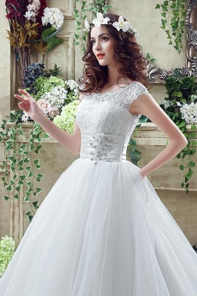 Cap Sleeve Illusion Lace Beadings Wedding Dress_6
