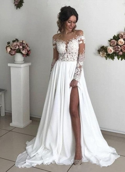 Elegant Long A-line Chiffon Lace Long Sleeves Wedding Dress with Slit_1