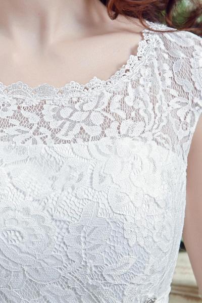 Cap Sleeve Illusion Lace Beadings Wedding Dress_4