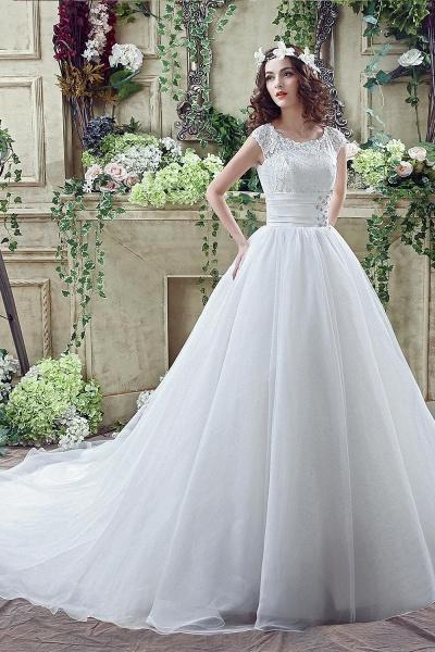 Cap Sleeve Illusion Lace Beadings Wedding Dress_7