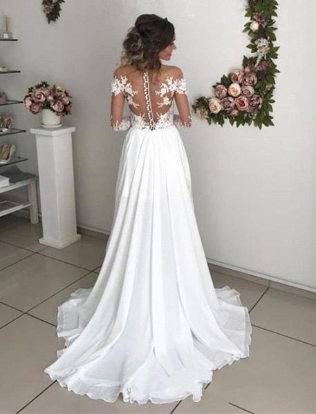 Elegant Long A-line Chiffon Lace Long Sleeves Wedding Dress with Slit_3