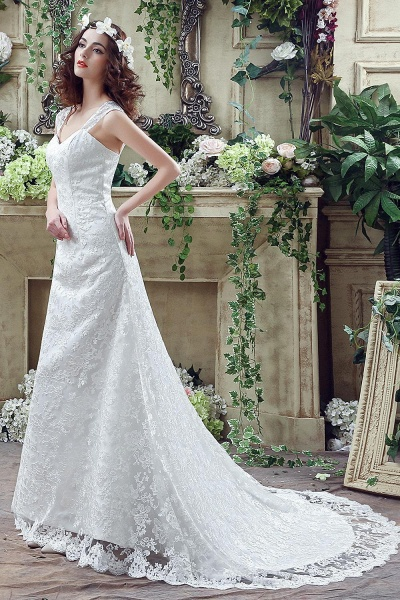 Lace Straps Sweetheart A-line Tulle Wedding Dress_7