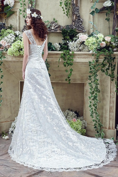 Lace Straps Sweetheart A-line Tulle Wedding Dress_4