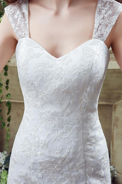 Lace Straps Sweetheart A-line Tulle Wedding Dress_3