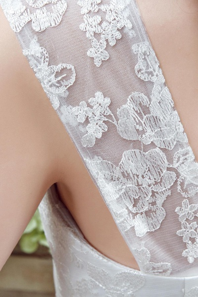 Lace Straps Sweetheart A-line Tulle Wedding Dress_6