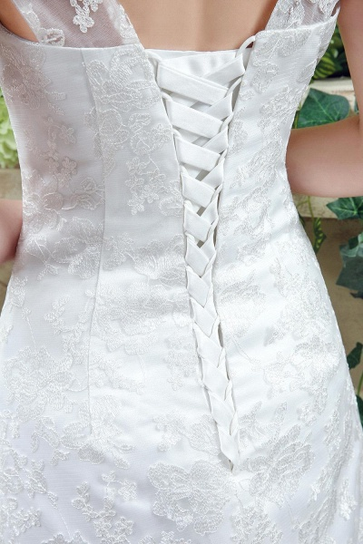 Lace Straps Sweetheart A-line Tulle Wedding Dress_5