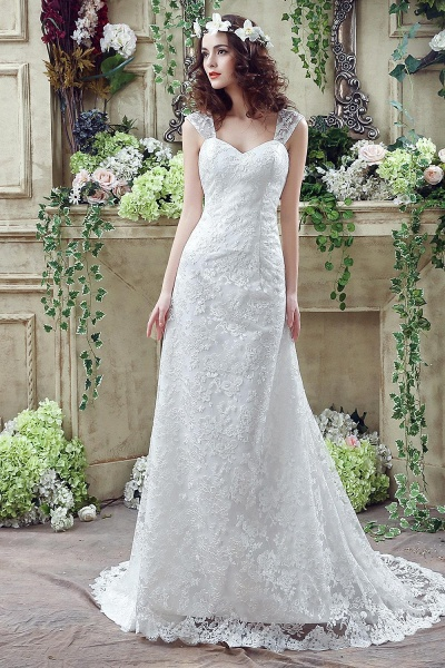 Lace Straps Sweetheart A-line Tulle Wedding Dress_1