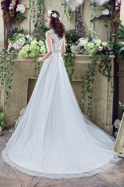 Lace Sheath Backless Cap Sleeves Wedding Dresses with Appliques_3