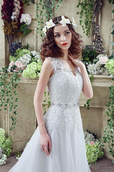 Lace Sheath Backless Cap Sleeves Wedding Dresses with Appliques_2