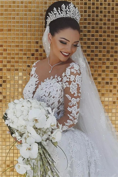 Luxury Beaded Lace Mermaid Sheer Tulle Wedding Dresses with Sleeves_3