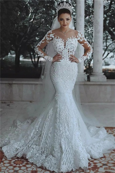Luxury Beaded Lace Mermaid Sheer Tulle Wedding Dresses with Sleeves_1