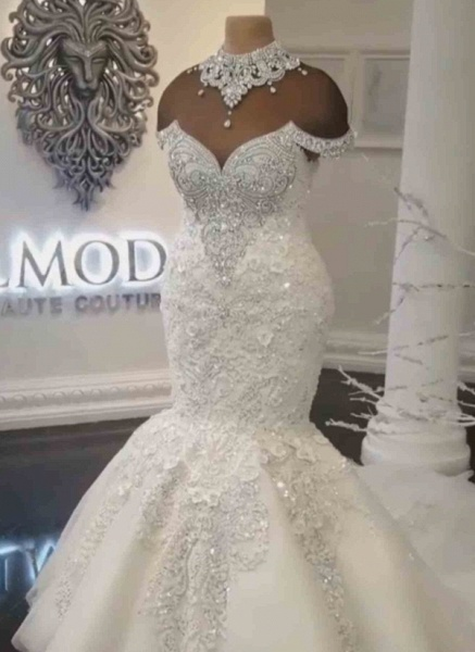 Off-the-Shoulder Appliques Crystals Mermaid Wedding Dress_2