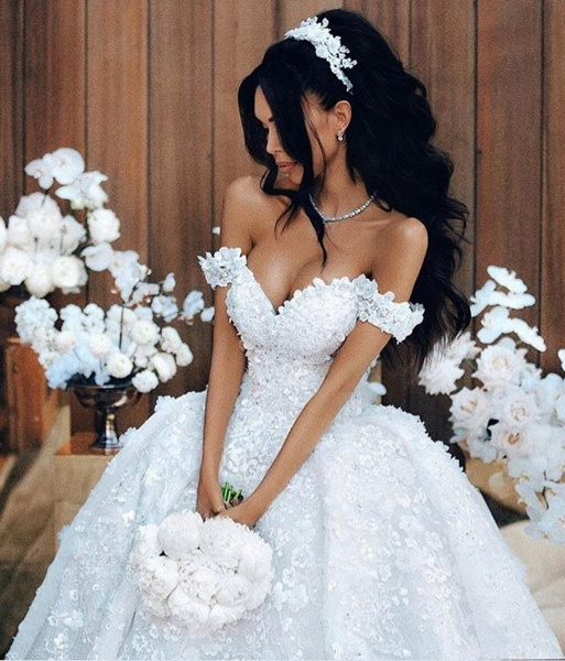 Off The Shoulder Appliques Luxury Wedding Dresses Princess Ball Gown Wedding Dress