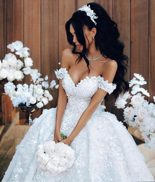 Off The Shoulder Appliques Luxury Wedding Dresses Princess Ball Gown Wedding Dress_1